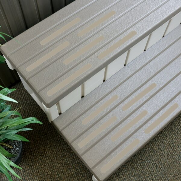 tan safety treads on steps
