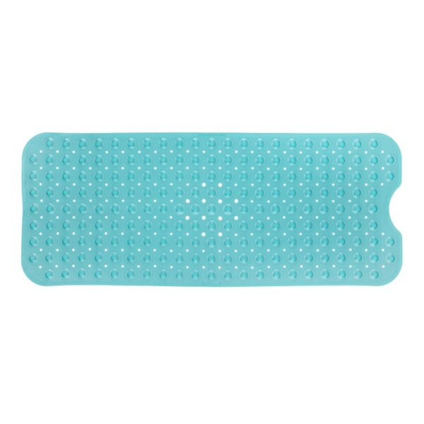 aqua extra long bath mat on white background