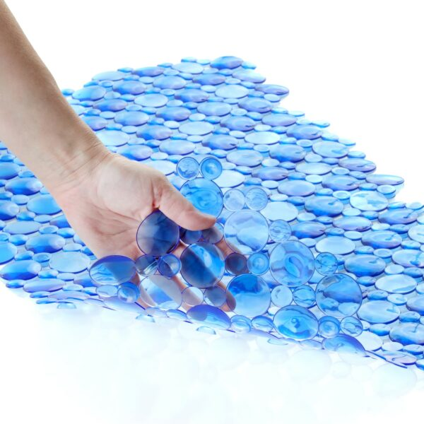 blue bath mat with suction cups