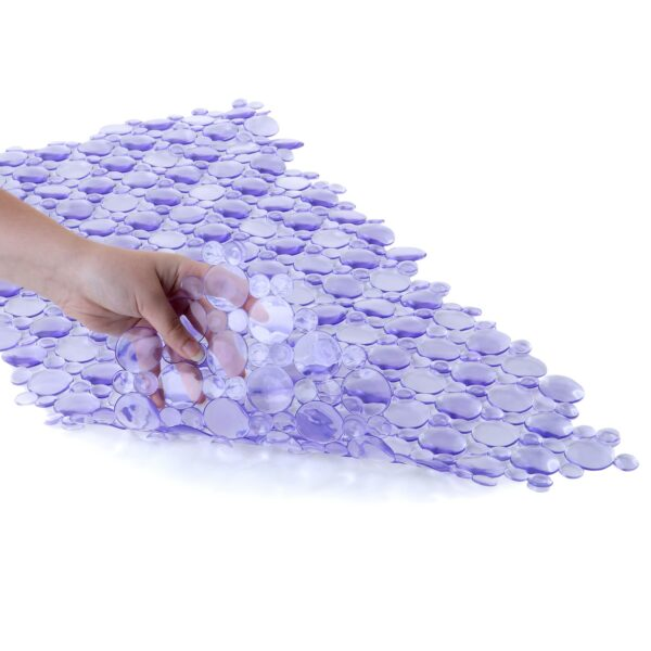 purple bath mat with suction cups