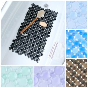 burst of bubbles bath mats: blue, brown, purple, green