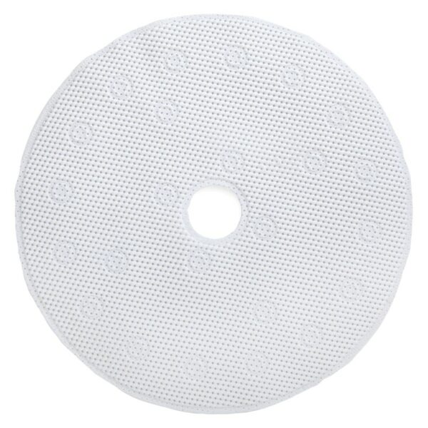 white shower mat with center drain hole on white background