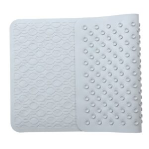 gray rubber safety bath mat with antimicrobial product protection with suction cups