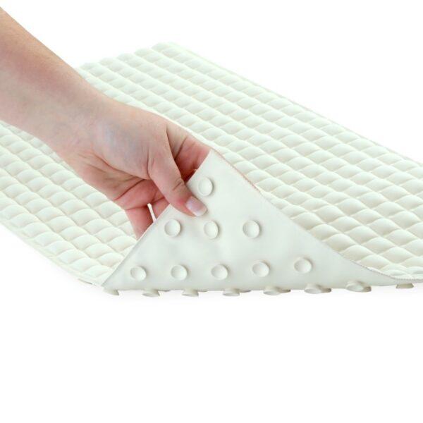 Cream Pillow Top Bath Mat Turn Back Shot