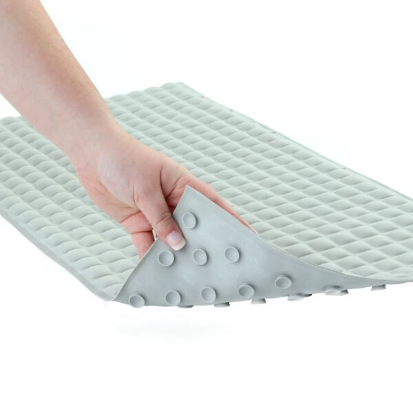 Gray Pillow Top Bath Mat with Suction Cups