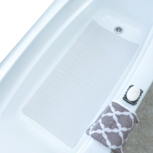 white extra long rubber bath mat