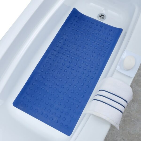 blue extra long rubber bath mat