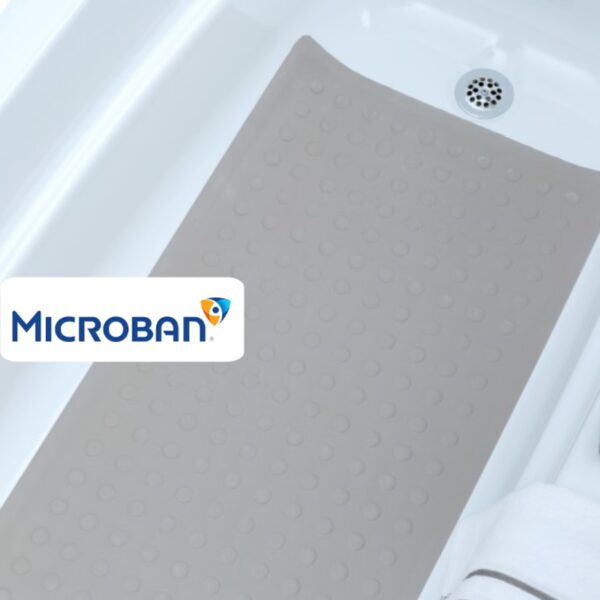 tan extra long rubber bath mat with microban antimicrobial