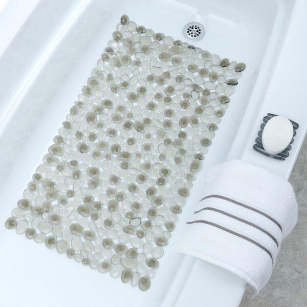 gray pebble bath mat