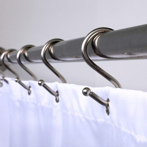 Nickel Simple Slide Shower Hook - Down Rod
