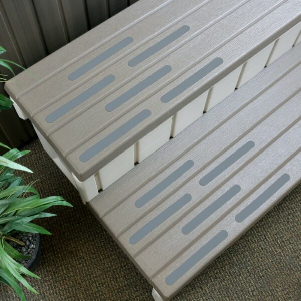 gray treads on steps