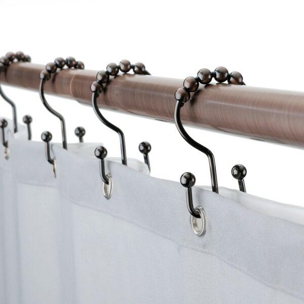 oil rubbed bronze double hooks on shower rod